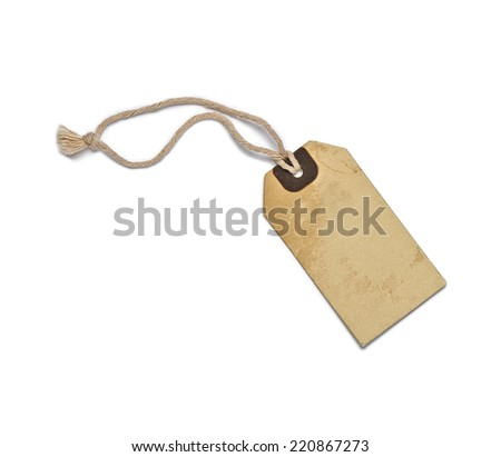 Textured blank tag tied with brown string. Price tag, gift tag, sale tag, address label - stock photo