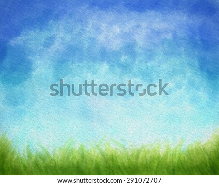 Textured Digital Watercolor Artwork with green grass and blue sky.  - stock photo