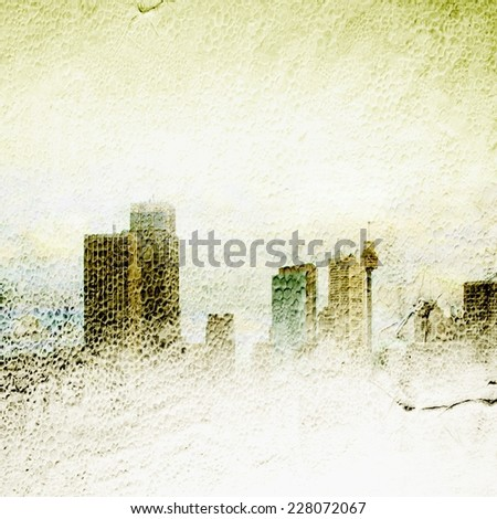 Textured foggy city skyline - stock photo