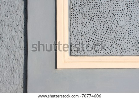 textured gray wall with yellow stripe - stock photo