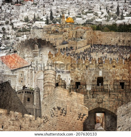 Textured grunge paper background with Jerusalem different architecture profiles. Vintage style - stock photo