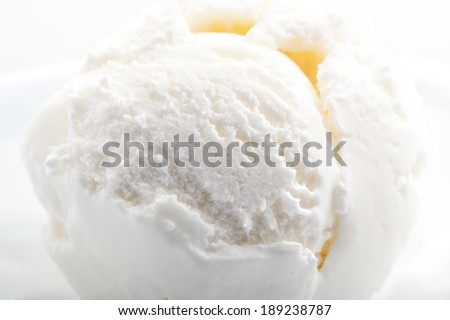 textured ice cream on white plate close-up   - stock photo