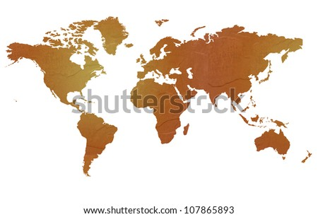 Textured map of the world globe map with brown rock or stone texture, isolated on white background with clipping path. - stock photo