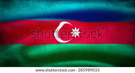 Textured national flag of Azerbaijan - stock photo