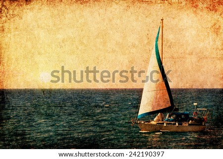 Textured old grange paper background with sail yacht in the sea  - stock photo