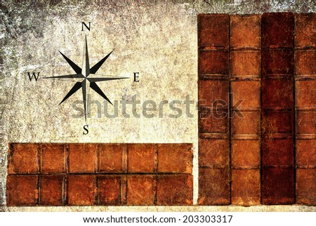 Textured old grange paper background with vintage books and wind rose  - stock photo