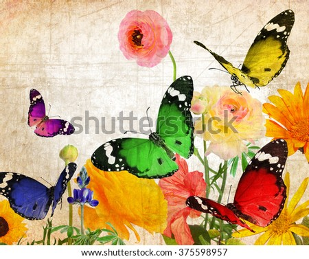 Textured old paper background with beautiful flowers and butterflies. Nature abstract background - stock photo