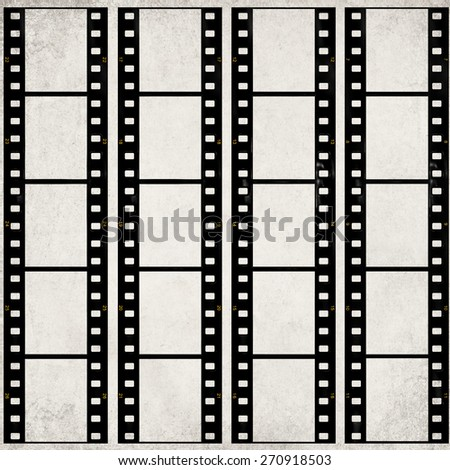 Textured old paper background with films strips - Vintage film stripe abstract background  - stock photo