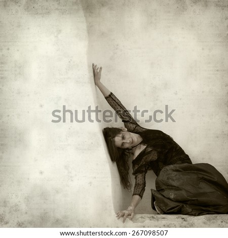 textured old paper background with flamenco dancer in a ruins of old church - stock photo