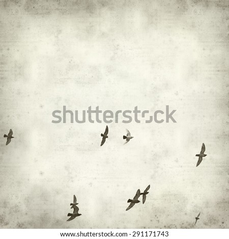 textured old paper background with flying pigeons - stock photo