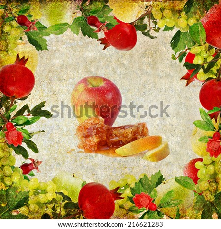 Textured old paper background with fruits frame and traditional food symbols for Rosh Hashana - Jewish new year - honey and apple . Image in retro style  - stock photo
