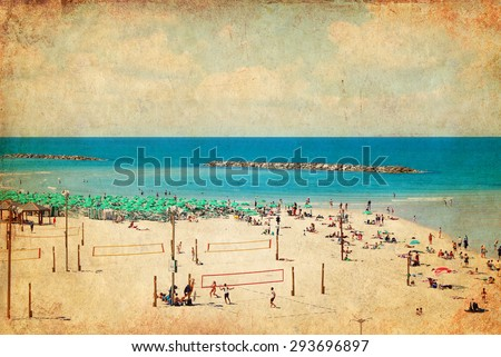 Textured old paper background with image of Tel Aviv public beach.Mediterranean sea, Israel. Aged textured photo .Photo in retro style  - stock photo