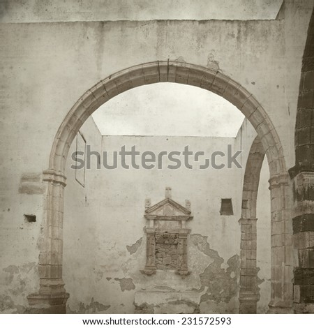 textured old paper background with old church in Fuerteventura - stock photo