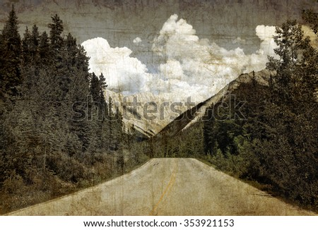 Textured old paper background with Rocky mountains road.Vintage style   - stock photo