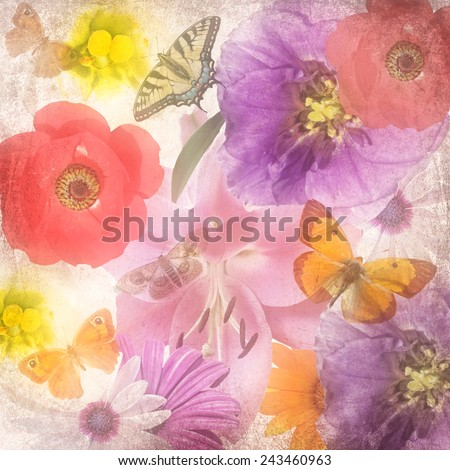 Textured old paper blurry background with beautiful flowers and butterflies in magic light. Flower texture abstract background. Nature abstract background - stock photo