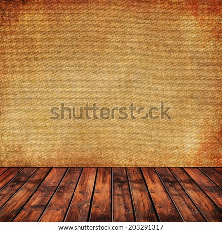 Textured old paper, fabric and wooden panel background  - stock photo