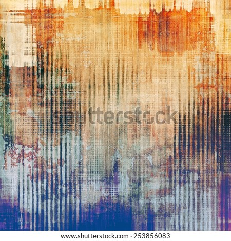Textured old pattern as background. With different color patterns: yellow (beige); brown; blue; red (orange) - stock photo