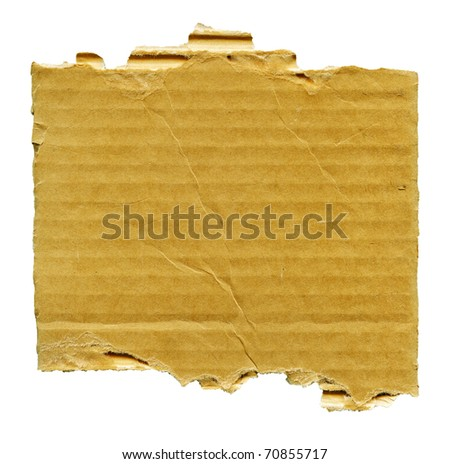 Textured striped cardboard with torn edges isolated over white - stock photo