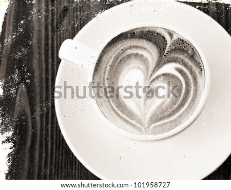 textured stylized vintage cup of coffee - stock photo