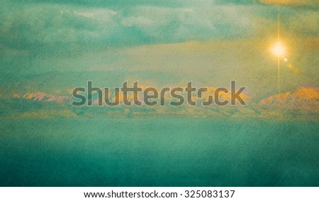 Textured vintage image of Dead Sea and distant mountains at sunrise (texture, grunge effect, toning) - stock photo