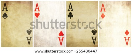 textured vintage player card- all aces - stock photo