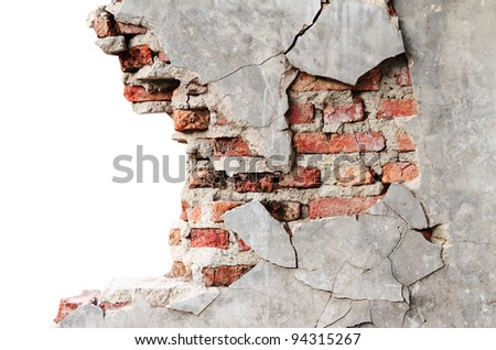 Textured wall with brick - stock photo