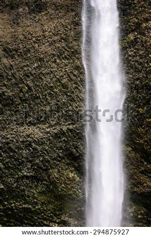 Textured Waterfall at Columbia, Columbia Gorge - stock photo