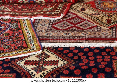 textures and background of ancient handmade carpets and rugs - stock photo
