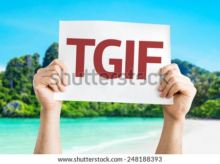 TGIF card with a beach on background - stock photo