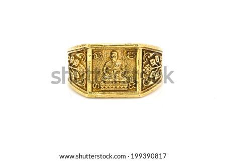 Thai amulet ring on background - stock photo