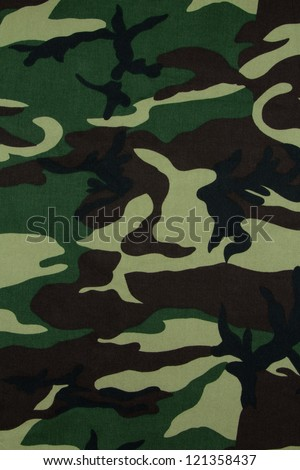 Thai army green woodland camouflage fabric texture background - stock photo