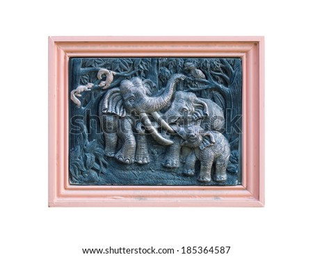 Thai art  elephant carving  pink frame in thai temple  - stock photo