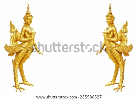 Thai art Kinnaree statue : The mythical half bird half woman - stock photo
