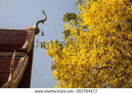 Thai art on roof Church at Thai temple with Thai national flower. - stock photo