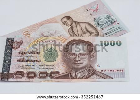 Thai 1000 baht banknotes , Thai money  - stock photo