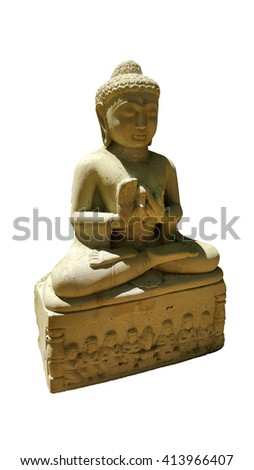 thai buddhism buddha bless statue with clipping paths isolated on white background, side view - stock photo