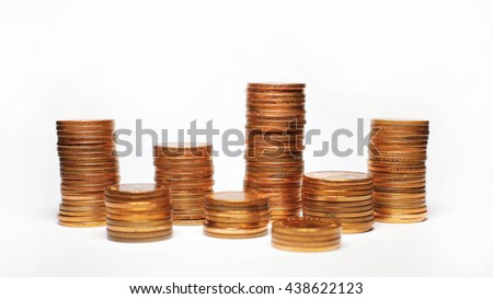 Thai coin tower 50 sa tang  on white background  - stock photo