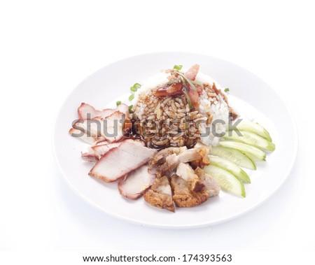 thai cuisine ,BBQ Pork and Crispy Pork with Rice  - stock photo
