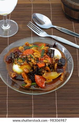 Thai cuisine name Sweet chilli chicken. - stock photo