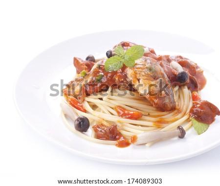 thai cuisine,spaghetti Collection - spaghetti with tuna  - stock photo