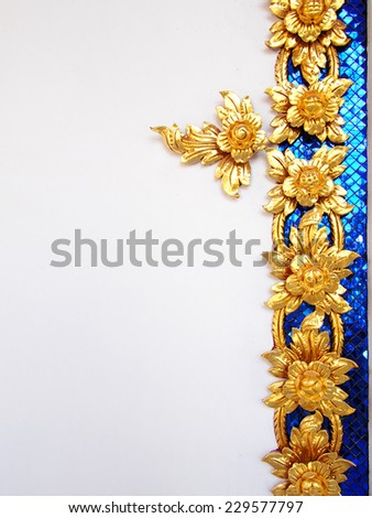 Thai culture pattern decorative on white wall. - stock photo