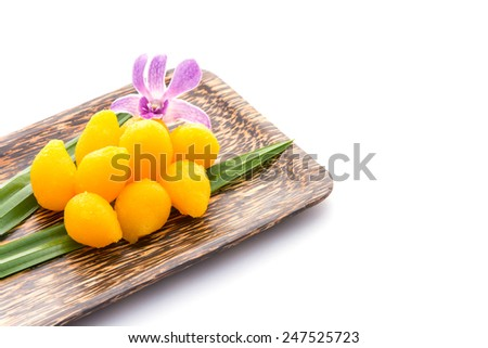 Thai dessert, Gold Egg Yolks Drops - stock photo