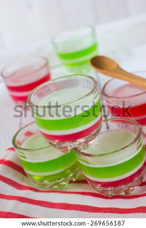thai dessert made from sugar juice and coconut in jelly-like - stock photo
