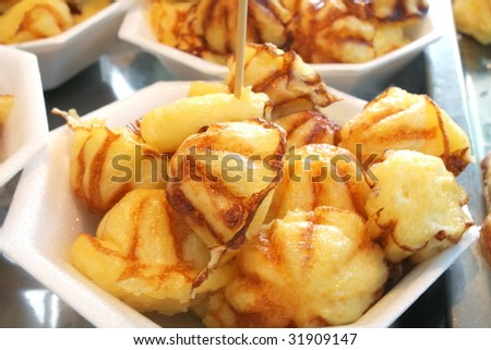 thai dessert made with flour eggs and milk - stock photo