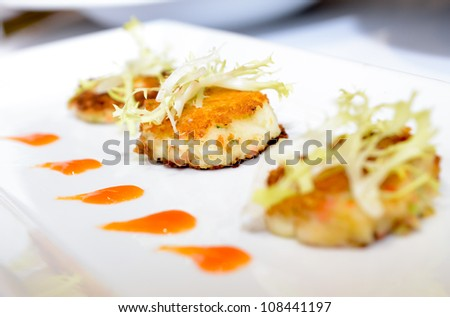 Thai dessert, Waffle is made with rice flour mixed with coconut and sugar - stock photo