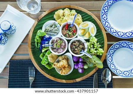 Thai dip and vegetable - stock photo