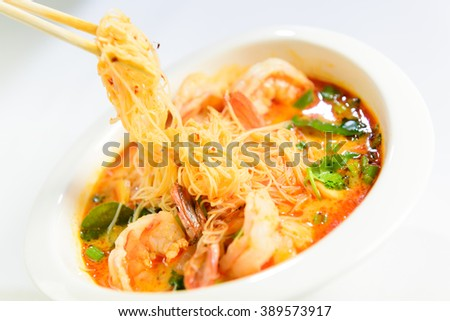 Thai Dishes, Tom Yum Kung soup with noodles - stock photo