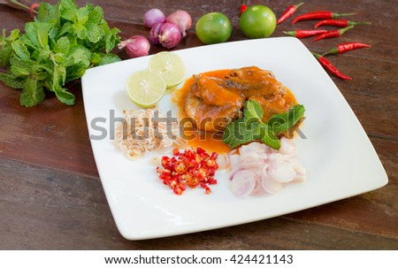 thai dressed salad with spicy canned sardine - stock photo