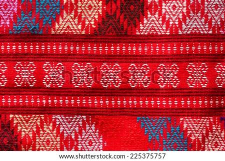 Thai  fabric close up pattern. - stock photo