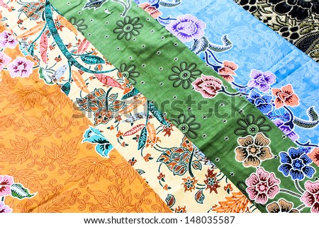 Thai fabric woven batik pattern - stock photo